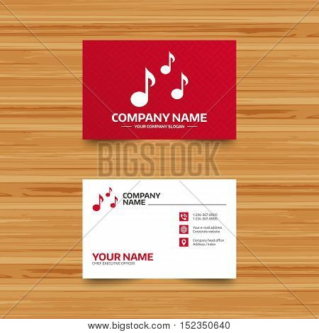 Business card template. Music notes sign icon. Musical symbol. Phone, globe and pointer icons. Visiting card design. Vector