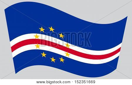 Cape Verdean national official flag. African patriotic symbol banner element background. Correct colors. Flag of Cape Verde waving on gray background vector
