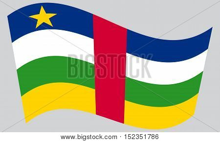 Central Africa national official flag. African patriotic symbol banner element background. Correct colors. Flag of the Central African Republic waving on gray background vector