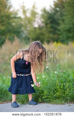 little girl picking up wild flowers on a side of a road