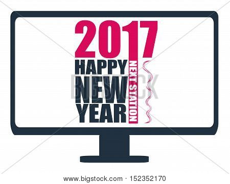 Happy New Year 2017 , Next Station, Illustration, Vector
