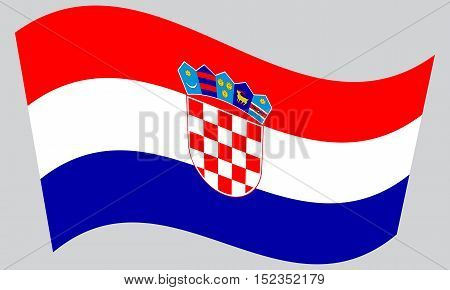 Croatian national official flag. Patriotic symbol banner element background. Correct colors. Flag of Croatia waving on gray background vector