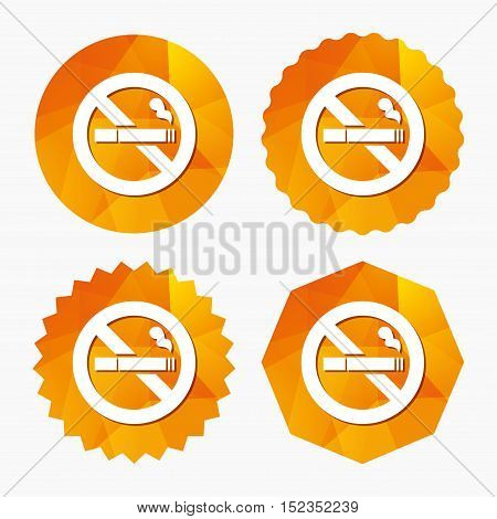 No Smoking sign icon. Cigarette symbol. Triangular low poly buttons with flat icon. Vector