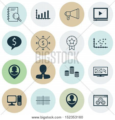 Set Of 16 Universal Editable Icons For Project Management, Marketing And Computer Hardware Topics. I