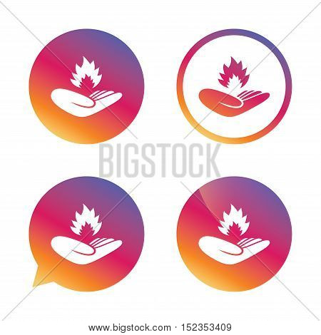 Insurance against fire sign icon. Hand holds fire flame symbol. Gradient buttons with flat icon. Speech bubble sign. Vector