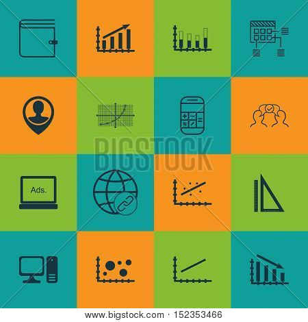 Set Of 16 Universal Editable Icons For Seo, Airport And Education Topics. Includes Icons Such As Des