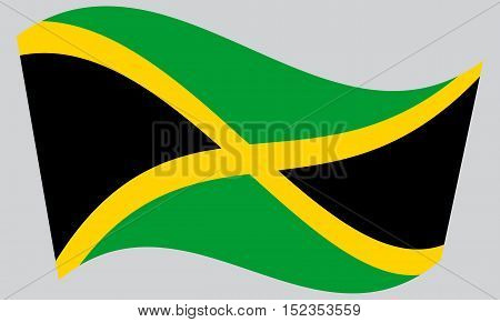 Jamaican national official flag. Patriotic symbol banner element background. Correct colors. Flag of Jamaica waving on gray background vector