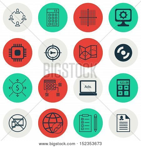 Set Of 16 Universal Editable Icons For Airport, Advertising And Project Management Topics. Includes