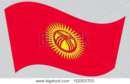 Kyrgyzstani national official flag. Patriotic symbol banner element background. Correct colors. Flag of Kyrgyzstan waving on gray background vector