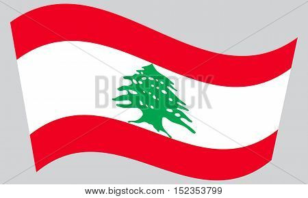 Lebanese national official flag. Patriotic symbol banner element background. Correct colors. Flag of Lebanon waving on gray background vector