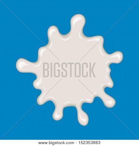 Vector milk splash. Drop of white liquid isolated on blue background. Splashing of milky drink, yogurt or cream. Cartoon design. Graphic element for banner or sticker.