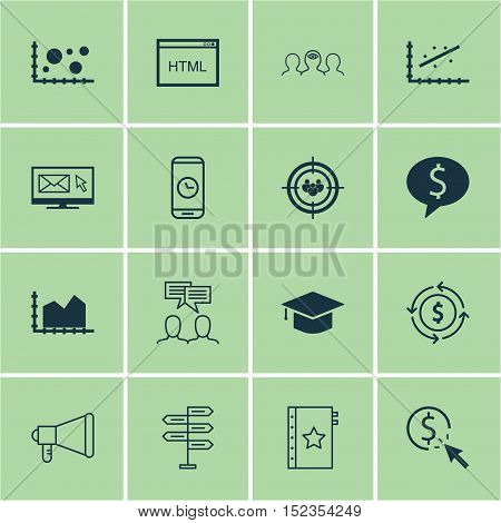 Set Of 16 Universal Editable Icons For Business Management, Advertising And Project Management Topic