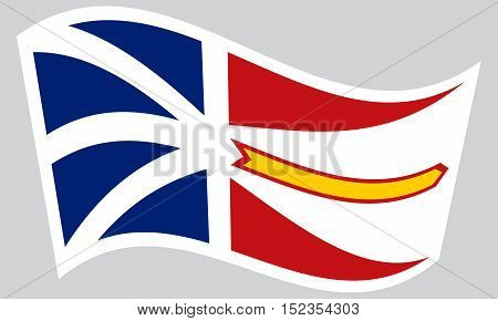 Canadian provincial NL patriotic element and official symbol. Canada banner and background. Correct colors. Flag of the Canadian province of Newfoundland and Labrador waving on gray background vector