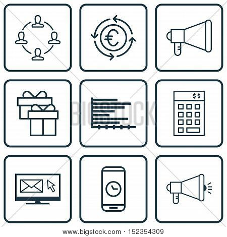 Set Of 9 Universal Editable Icons For Travel, Marketing And Project Management Topics. Includes Icon