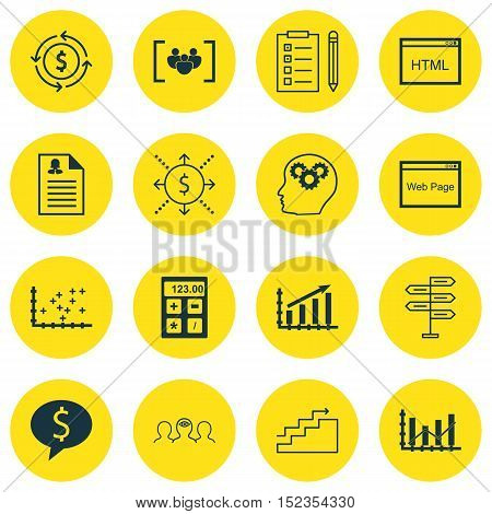 Set Of 16 Universal Editable Icons For Education, Project Management And Business Management Topics.