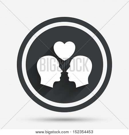 Gay couple sign icon. Male love male. Romantic homosexual relationships with heart. Circle flat button with shadow and border. Vector