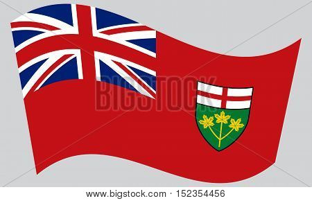 Ontarian provincial flag patriotic element and official symbol. Canada banner and background. Correct colors. Flag of the Canadian province of Ontario waving on gray background vector