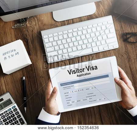 Visitor Visa Application Form Concept