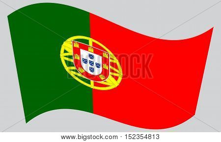 Portuguese national official flag. Patriotic symbol banner element background. Correct colors. Flag of Portugal waving on gray background vector