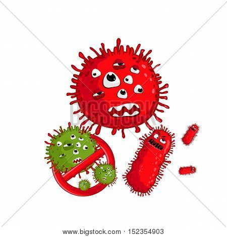 Cartoon bacteria character vector illustration on white background. Cute fly germ infection vector character. Funny micro bacteria character. Microbe, Pathogen. Infection icon. Viruses icon. Monster virus. Isolated bacteria. Cartoon infection or bacteria