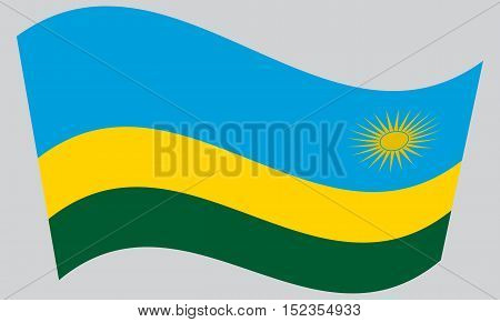 Rwandan national official flag. African patriotic symbol banner element background. Correct colors. Flag of Rwanda waving on gray background vector