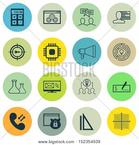 Set Of 16 Universal Editable Icons For Statistics, Project Management And Business Management Topics