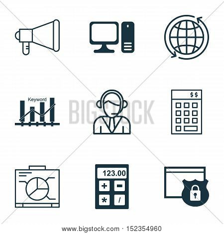 Set Of 9 Universal Editable Icons For Airport, Seo And Computer Hardware Topics. Includes Icons Such