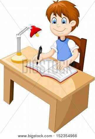 funny Boy cartoon studying at a desk