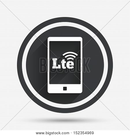 4G LTE sign in smartphone icon. Long-Term evolution sign. Wireless communication technology symbol. Circle flat button with shadow and border. Vector