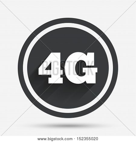 4G sign icon. Mobile telecommunications technology symbol. Circle flat button with shadow and border. Vector