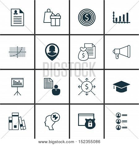 Set Of 16 Universal Editable Icons For Marketing, Project Management And Statistics Topics. Includes