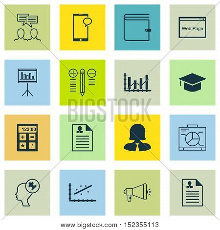 Set Of 16 Universal Editable Icons For Human Resources, Education And Business Management Topics. In