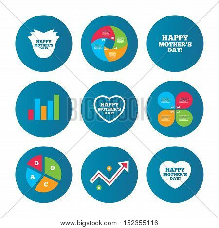 Business pie chart. Growth curve. Presentation buttons. Happy Mothers's Day icons. Mom love heart symbols. Flower rose sign. Data analysis. Vector