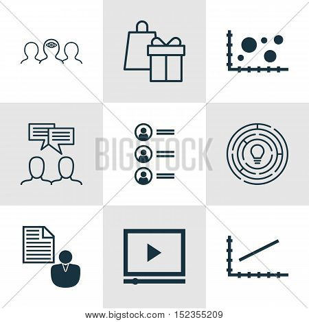 Set Of 9 Universal Editable Icons For Business Management, Advertising And Statistics Topics. Includ
