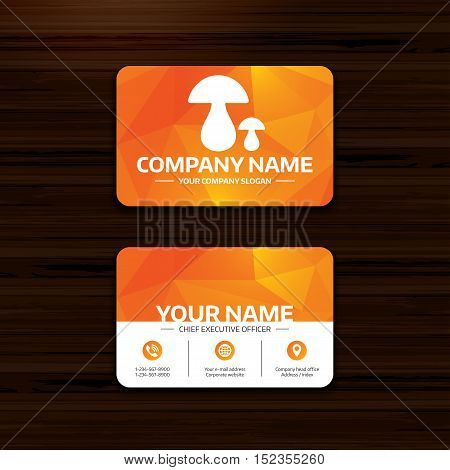 Business or visiting card template. Mushroom sign icon. Boletus mushroom symbol. Phone, globe and pointer icons. Vector