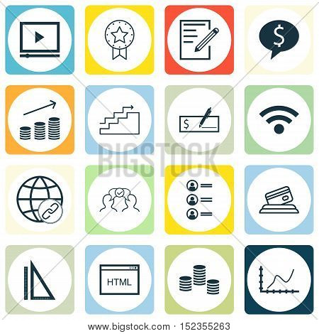 Set Of 16 Universal Editable Icons For Advertising, Business Management And Computer Hardware Topics