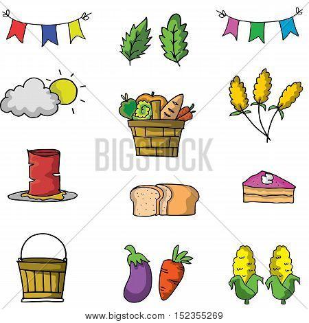 Element thanksgiving set on doodle vector art