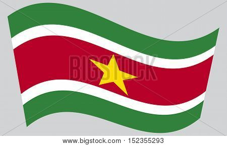 Surinamese national official flag. Patriotic symbol banner element background. Correct colors. Flag of Suriname waving on gray background vector