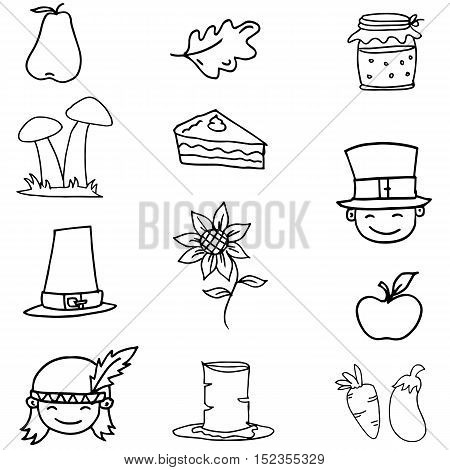 Doodle of thanksgiving vector element illustration collection