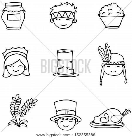 Hand draw doodle thanksgiving set vector art