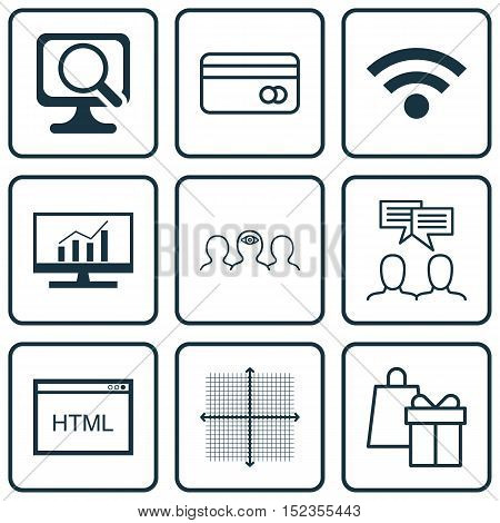 Set Of 9 Universal Editable Icons For Advertising, Business Management And Seo Topics. Includes Icon