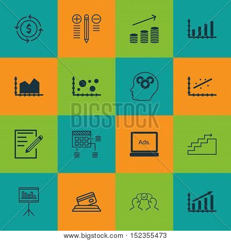 Set Of 16 Universal Editable Icons For Statistics, Project Management And Airport Topics. Includes I