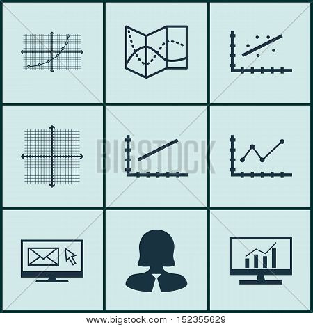 Set Of 9 Universal Editable Icons For Airport, Marketing And Statistics Topics. Includes Icons Such