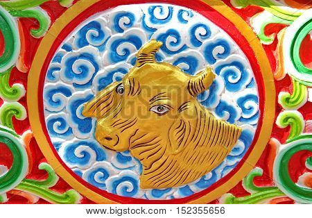 Ox is chinese zodiac animal sign.This Picture is Public.