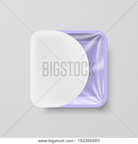 Empty Purple Plastic Food Square Container with White Label on Gray