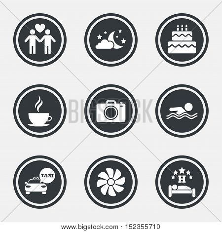 Hotel, apartment service icons. Swimming pool. Ventilation, birthday party and gay-friendly symbols. Circle flat buttons with icons and border. Vector