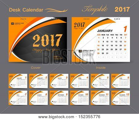 set Orange Desk Calendar 2017 template design, cover Desk Calendar , Business flyer template