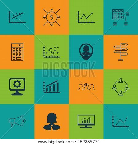 Set Of 16 Universal Editable Icons For Computer Hardware, Human Resources And Business Management To
