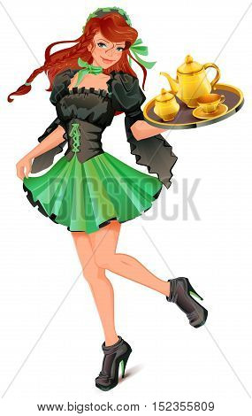 Beautiful woman waiter carries tray with tea. Isolated on white vector cartoon illustration