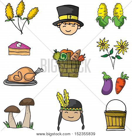 Doodle of element thanksgiving object vector illustration